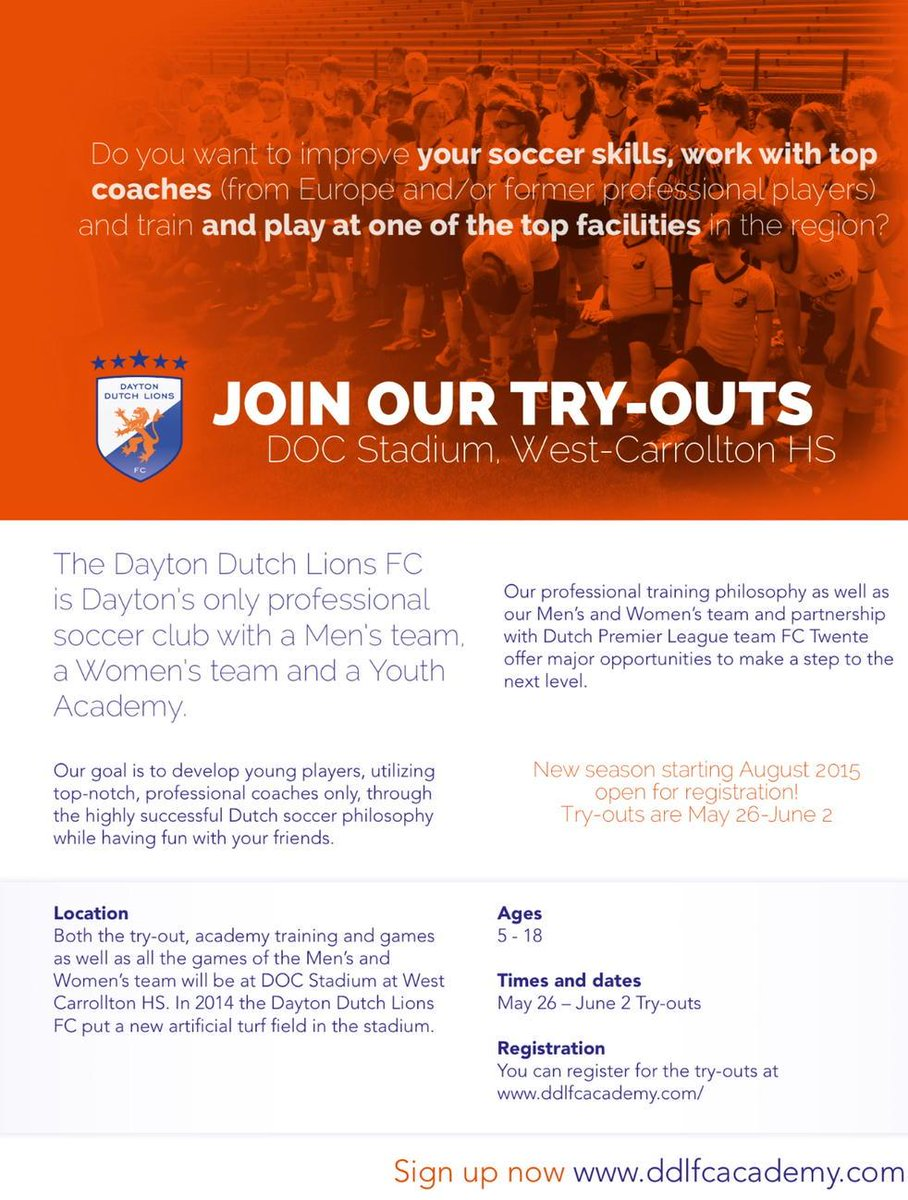 TRYOUTS are NEXT WEEK! Players of ALL ages invited! #DaytonDutchLions #soccer #ohio #kids #teens #tryouts http://t.co/57VH5vZAlF