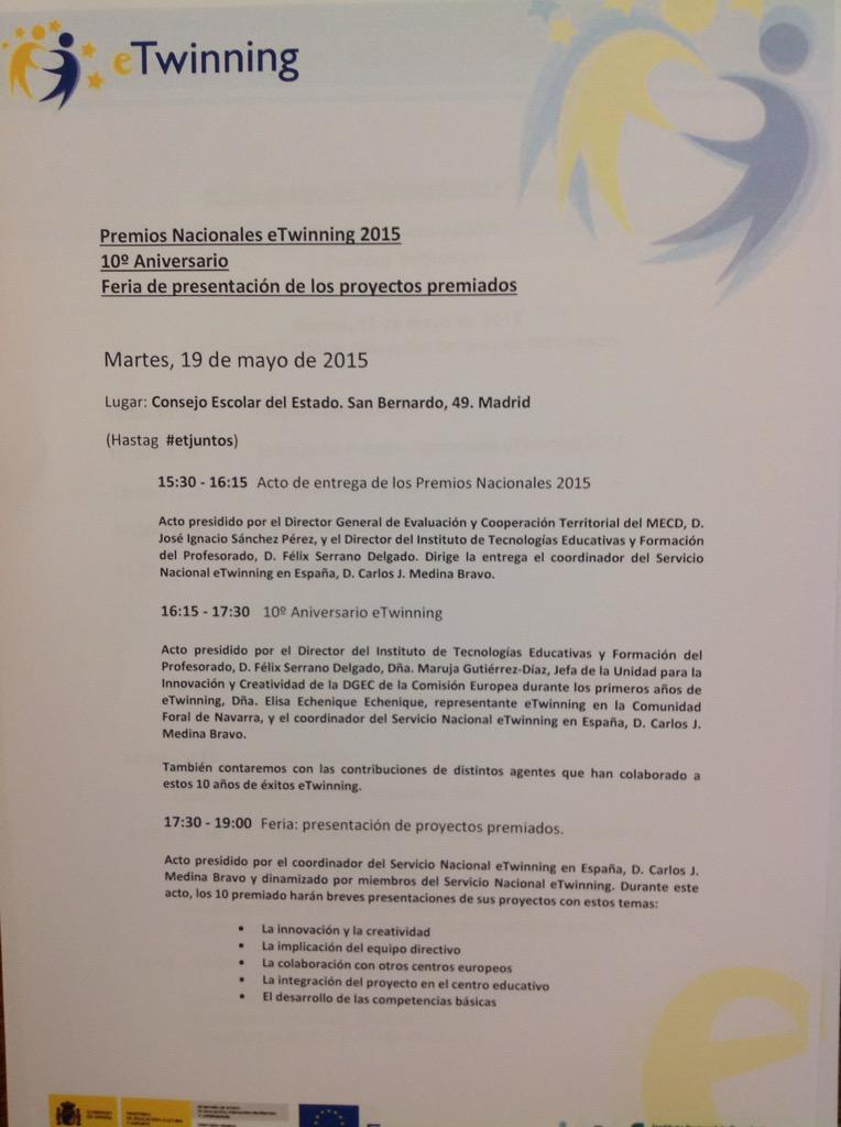 #INTEF RT unautrerana1: #etjuntos Entrega de premios eTwinning 2015. Madrid presidido por D. J. Ignacio Sánchez Pé… http://t.co/uEhWSxbpzK