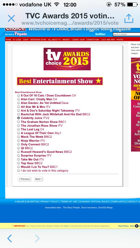 RT @GuestGuest8: Just voted for you guys 😃 @hollywills @lemontwittor and @Fearnecotton xxx http://t.co/WuRzvVjera