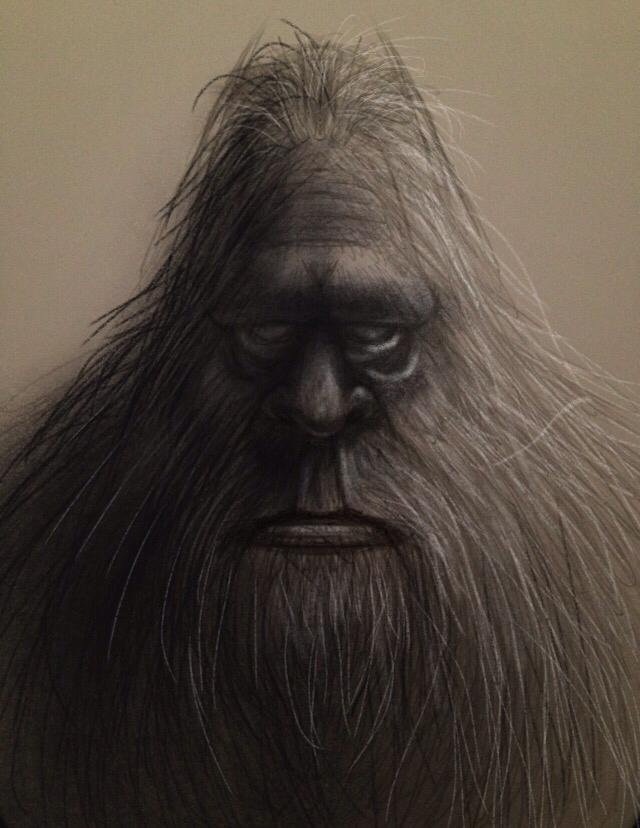 Sasquatch sketch. Pencil & paper, then finished up in @Procreate Pocket. http://t.co/JsetKeLI61