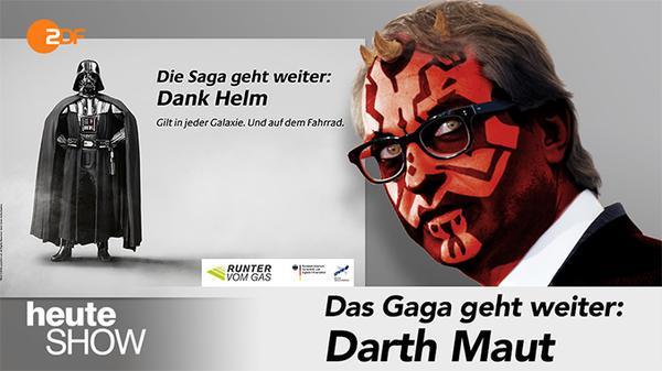 Darth Vader wirbt fürs Helmtragen - so sehen die Kollegen der @heuteshow die Aktion http://t.co/FsbuYSXSEg