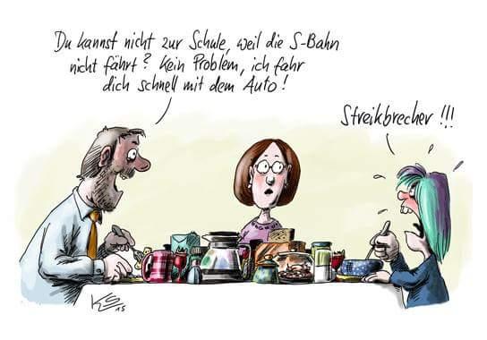 Bahnstreik #GDL Unerwartete Sympathisanten. ;-) (Karikatur Stuttmann)