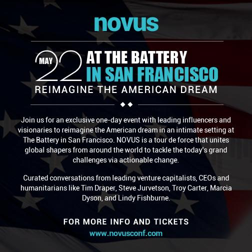 @NovusConf at the Battery this Friday. Re-imagine the American Dream with @TimDraper @atomfactory @dfjsteve @benparr http://t.co/sM6j4LAmuh