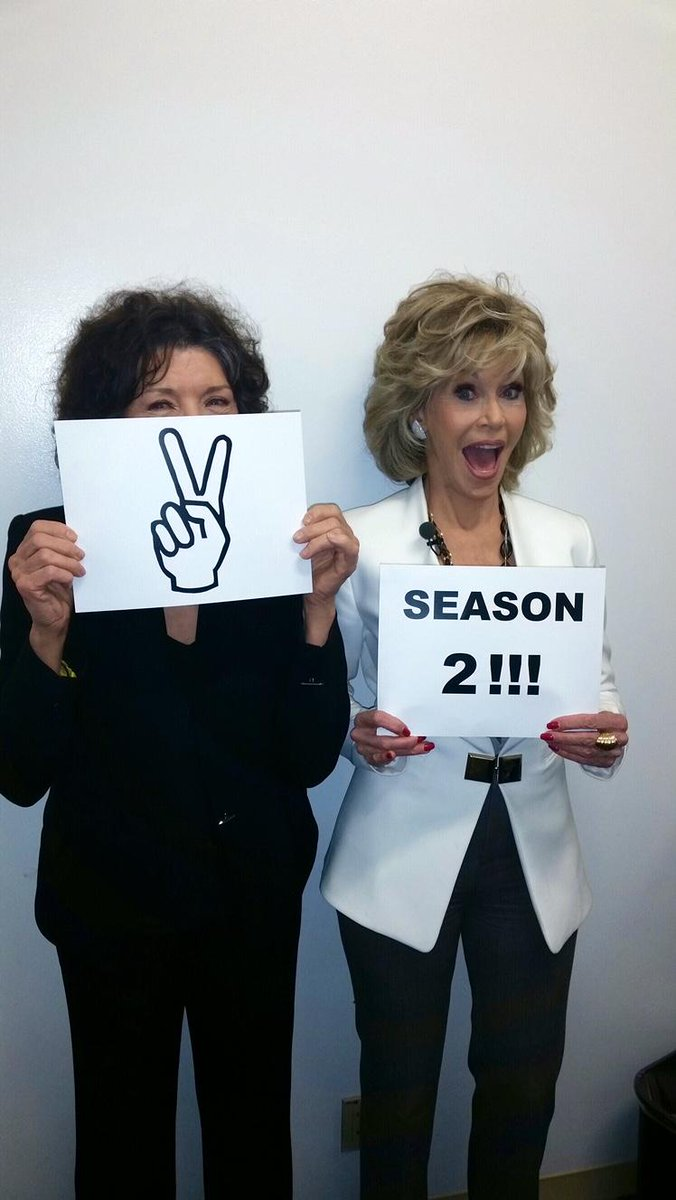 More binge viewing ahead! @GraceAndFrankie picked up for a second season!!!! #NETFLIX http://t.co/oKcaC9AEr1
