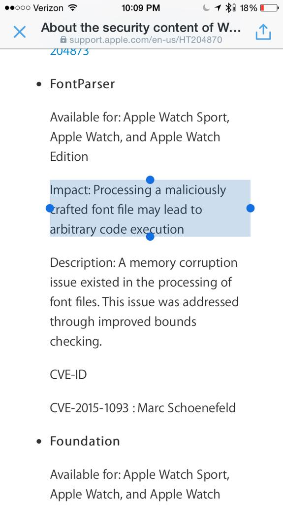 Arbitrary code execution via fonts on your watch. A thing in 2015. #whatatimetobealive http://t.co/DTD7CdJmsx