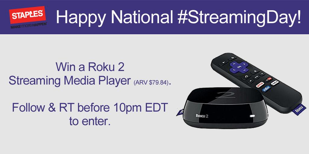 It's #StreamingDay! Win a @RokuPlayer, follow & RT to enter. Plus, today only save $10 on Roku http://t.co/qiZxxe5Kaf http://t.co/xcFFbLUkp6