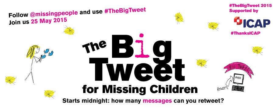 RT @missingpeople: Just five days til #TheBigTweet! Have your friends + family signed up yet? http://t.co/H6veKXPtAD http://t.co/LB9vbv14BV