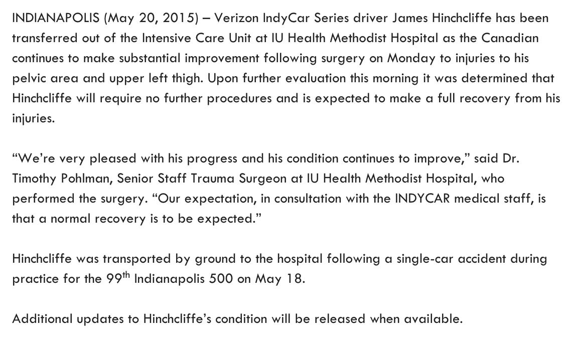 Another update on @Hinchtown… the good news keeps rollin' in! #Indy500 #GetWellSoonHinch http://t.co/NoqItTF2UZ