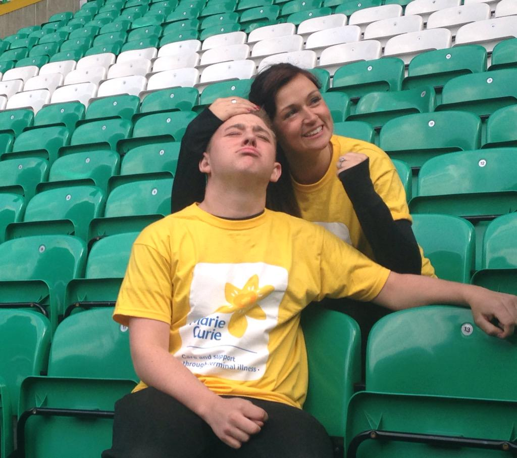 RT @RadioClydeNews: We're at Celtic Park where Lisa Hauge and Nicholas McDonald are sitting on every seat in the stadium for Marie Curie ht…