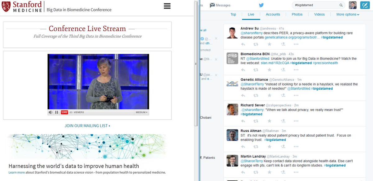 THIS is the way to conference: livestream on one side, Twitter stream on the other #bigdatamed http://t.co/KiSTfKCfz2