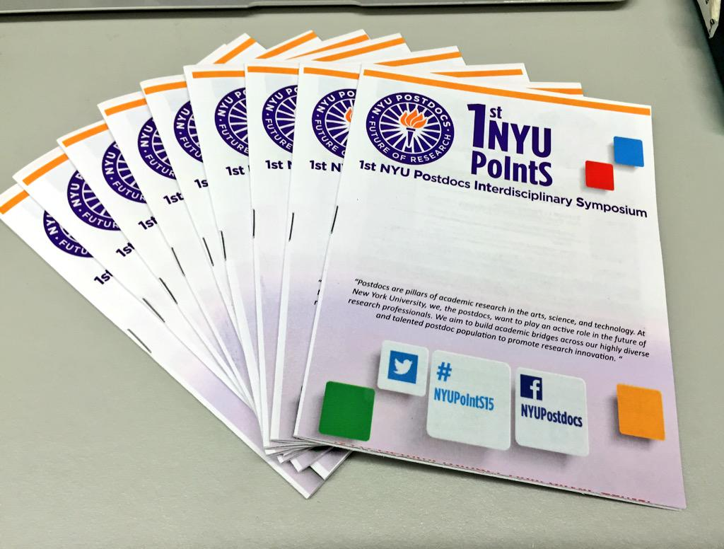 Programs for #NYUPoIntS15 are printed! Looking forward to learning about all the #postdocs research going on at #NYU http://t.co/NY4pbKxiG3