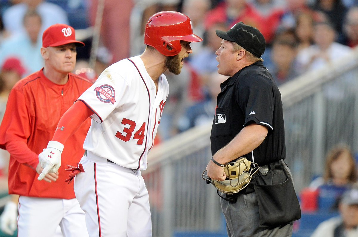 Bryce Harper and Matt Williams were both ejected in 3rd inning of Yankees-Nationals. Neither was very happy about it.