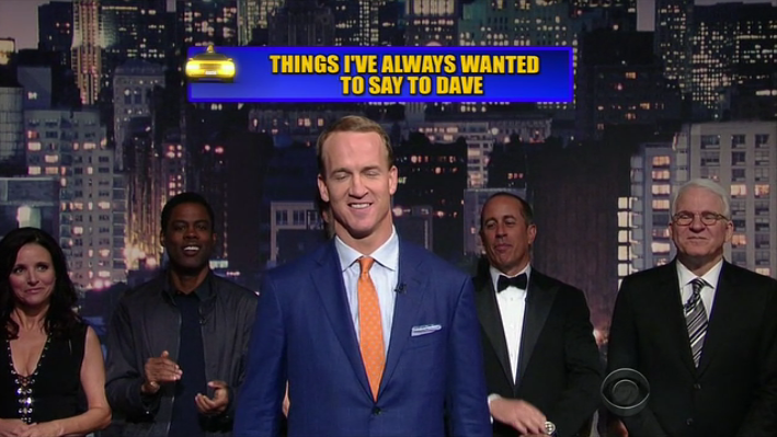 """Dave, you are to comedy what I am to comedy"" -Peyton Manning #ThanksDave http://t.co/8jBX22rEs5"