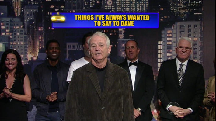 "Letterman's last No. 1: ""Dave, I'll never have the money I owe you"" -Bill Murray #ThanksDave http://t.co/ME30WDmwfc"