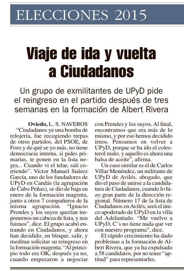 Afiliados de UPyD Asturias que se habían ido a C's vuelven tras ver el panorama. Esta campaña está siendo TOP. http://t.co/dLHqnnd1sK