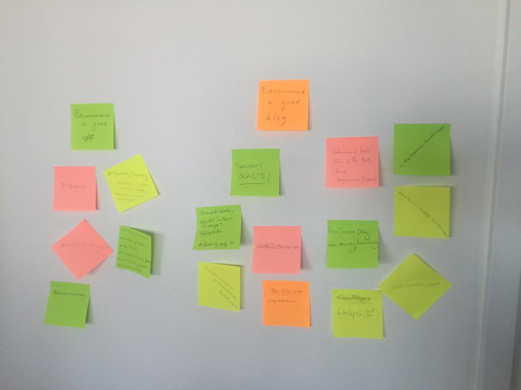 Some of the excellent suggestions on our post-it wall so far. Do come up & add more. #NatSCA2015 http://t.co/d7Jry8nkgH