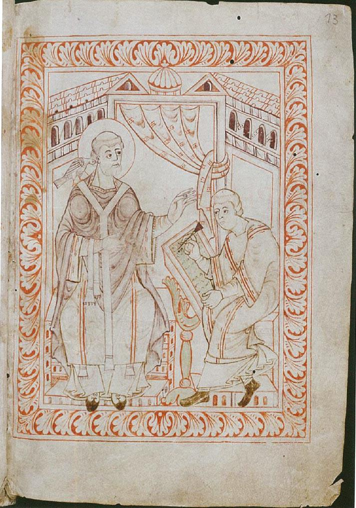 Hartker's Antiphonary (late 10th): Gregory the Great dictating to a scribe writing on a wax tablet #SWStGall390 http://t.co/nvW4XM6qGr