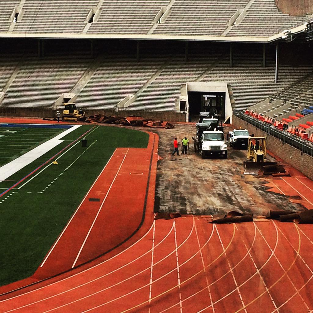Work is underway on the track renovation project! Excited to upgrade our facilities for @PennTrack @PennRec & @penn! http://t.co/6pTMfQhChf