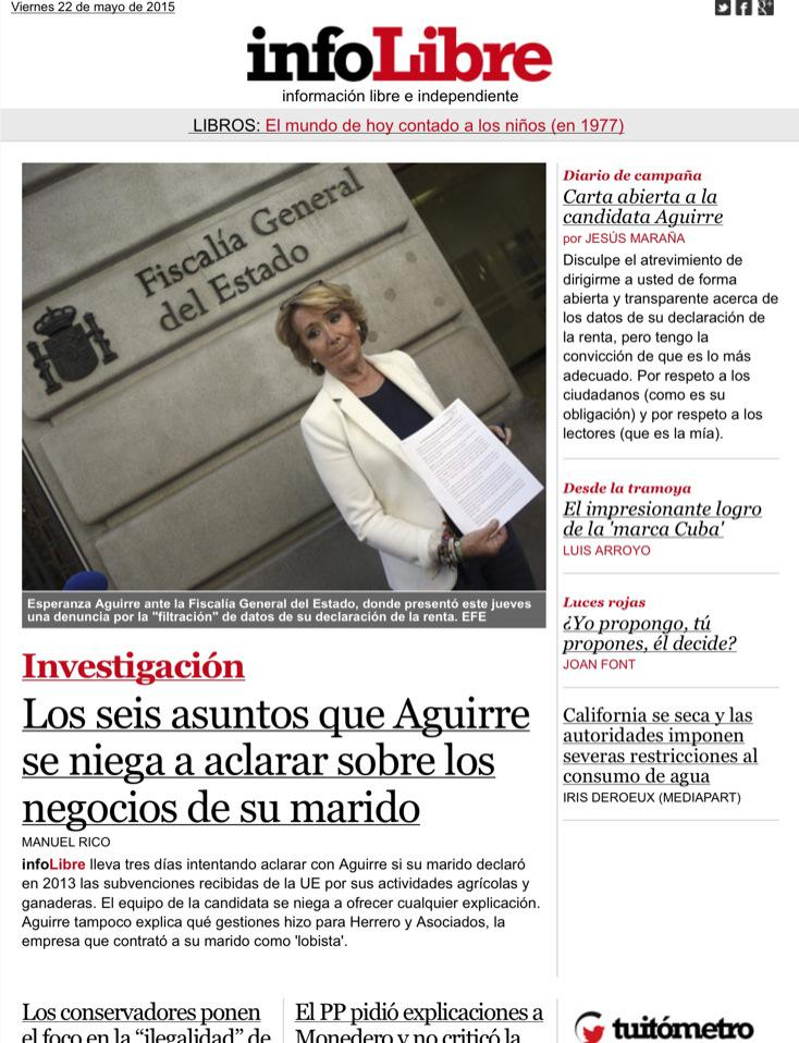 Portada de #infoLibre para soci@s: seis asuntos que #Aguirre no aclara y una carta abierta a la candidata. http://t.co/7lL6eQPgNf