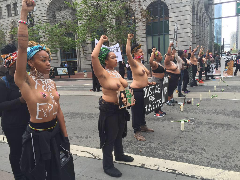 The baring of breasts is historically an act of mourning, grief or protest. #SayHerName encapsulates this perfectly. http://t.co/vgKMI8cbWT