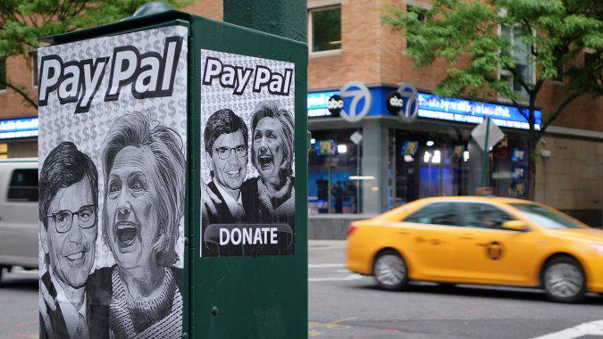 Stephanopoulos-Hillary street art near ABC GMA set