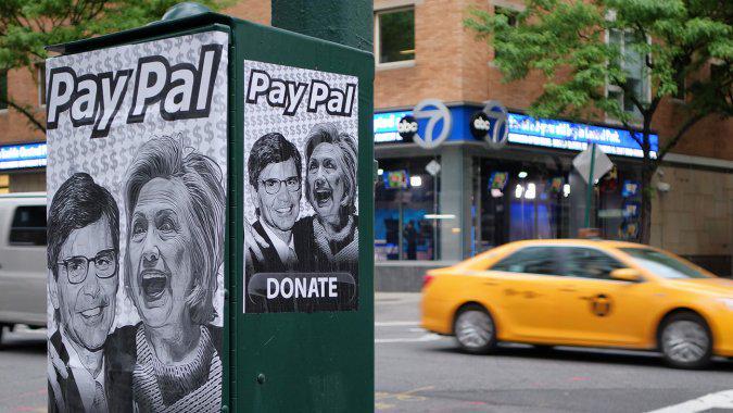 Stephanopoulos-Hillary street art near ABC GMA set