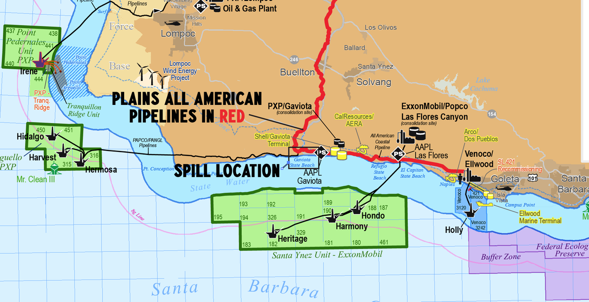 Streebs On Twitter Santa Barbara Oil Spill Detail MAP Showing - Map of us pipeline spills sites