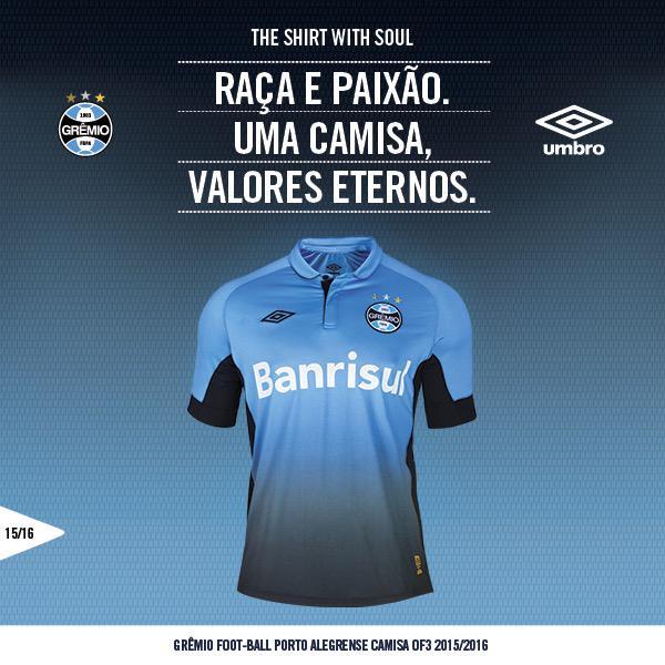 Grêmio e  umbrobrasil apresentam o novo uniforme do tricolor 3397e19a5f425