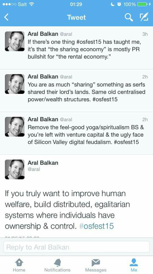 Great rant by @aral on the #sharingeconomy #osfest15 http://t.co/gmAtPqeM4R