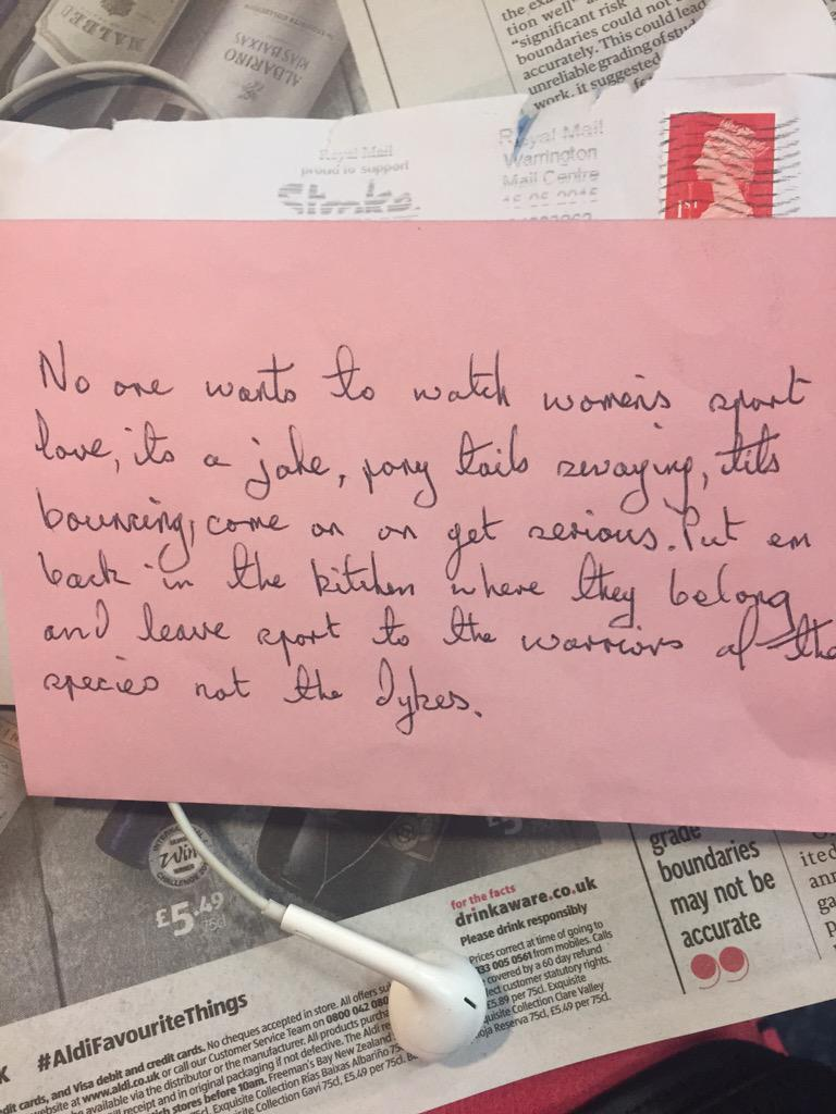 cannot believe this anonymous note I've just received off back of my piece on women's sport (scribed on pink paper) http://t.co/dmfwnlm9ZZ