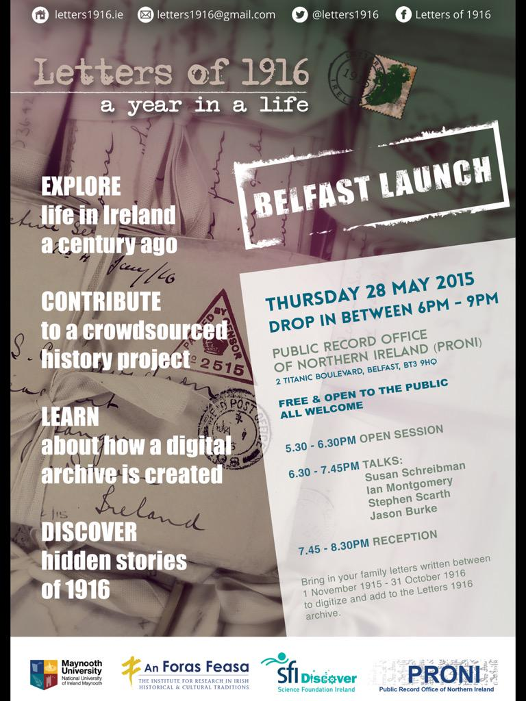 Crowdsourcing @letters1916 project #Belfast launch Thur 28 May.Talks + bring yr family letters http://t.co/nKTte3uJzz http://t.co/5bQ78dvqKL