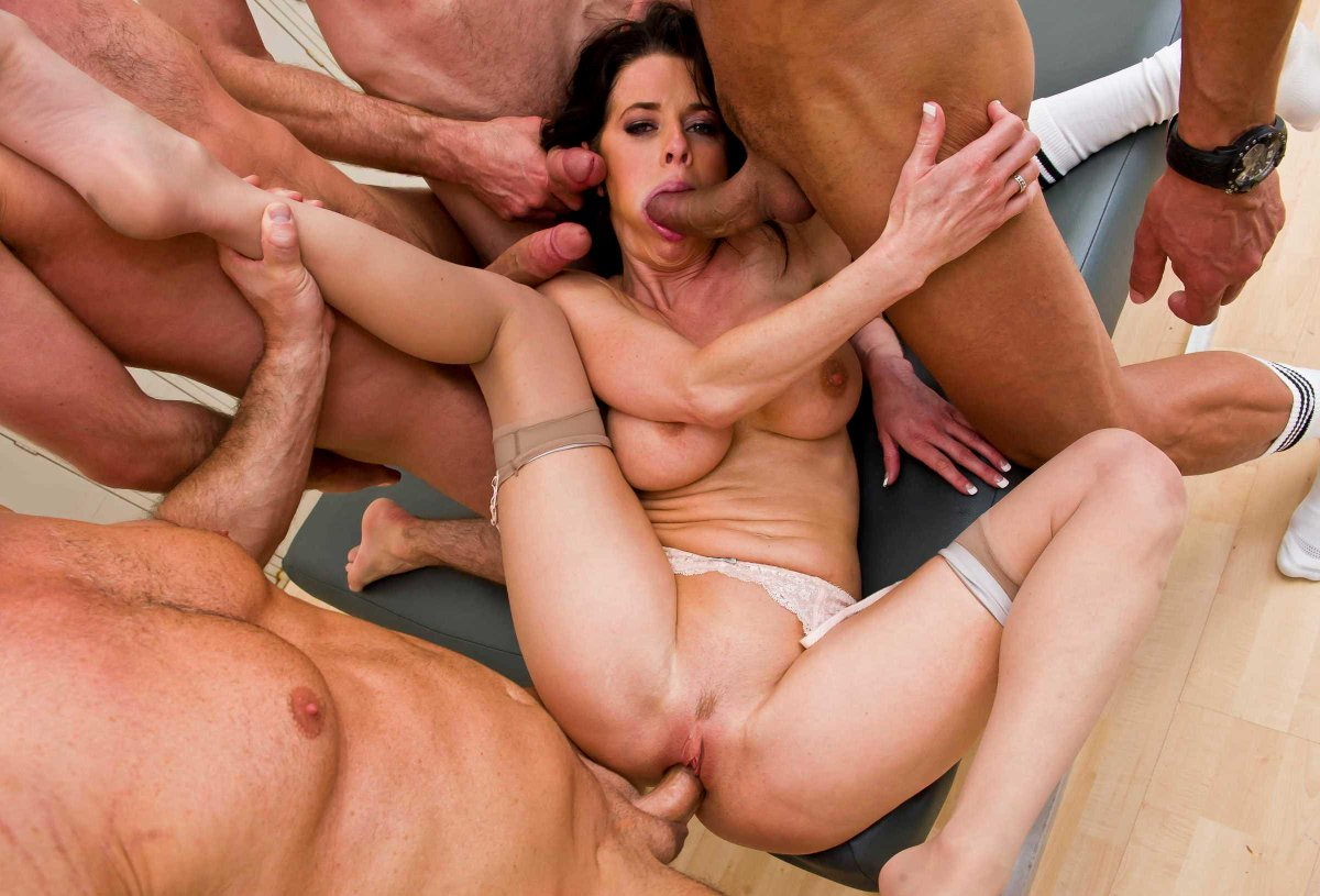 Teen brunette gang bang