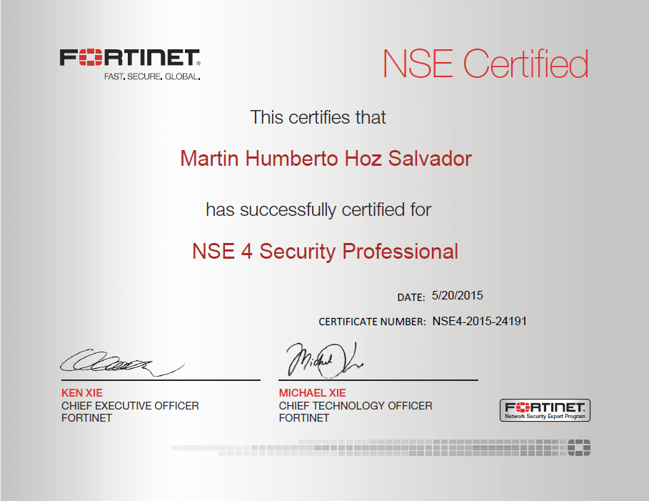 Martin Hoz On Twitter I Am An Officially Certified Fortinet Nse4
