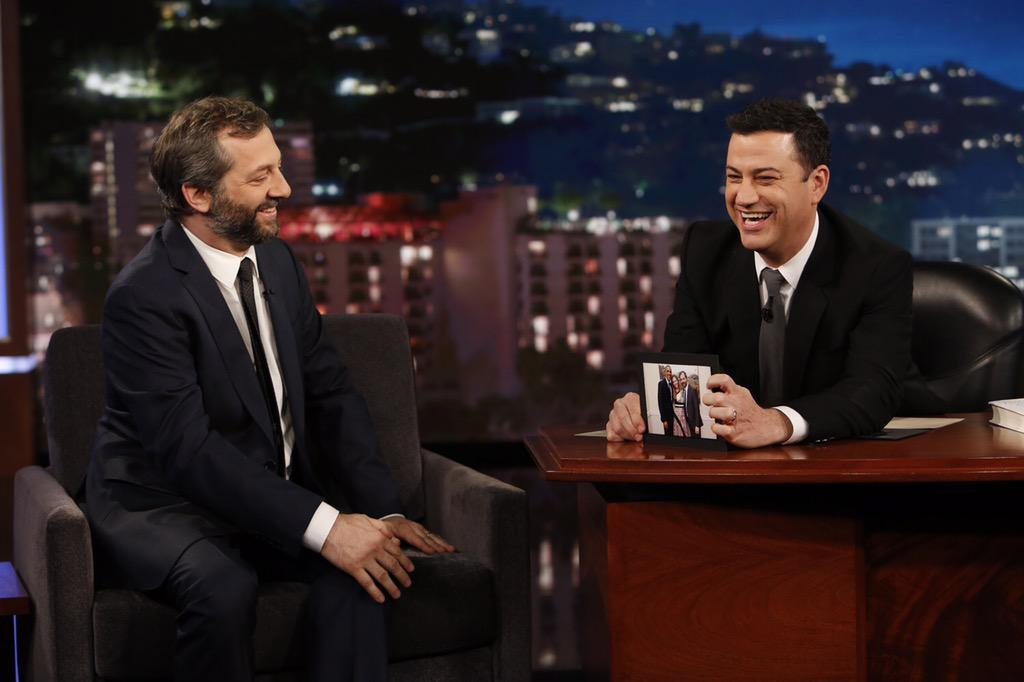 RT @JuddApatow: Watch me on @JimmyKimmel – Tonight on ABC! #KIMMEL - I think it is on right now! http://t.co/MQ2u9dxbKx