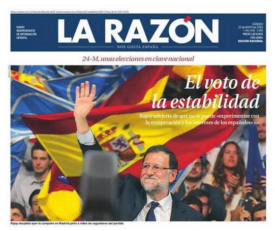 """En la #JornadaDeReflexion está prohibido pedir el voto por ningún partido salvo si eres La Razón http://t.co/46c4oJYUC5"""""""