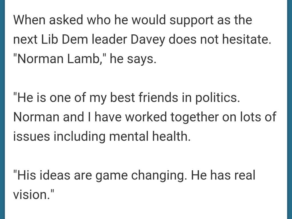 "Ed Davey firmly backing @normanlamb #backnorman ""his ideas are game changing.""  http://t.co/UComewuhYe http://t.co/mai2vinGVd"
