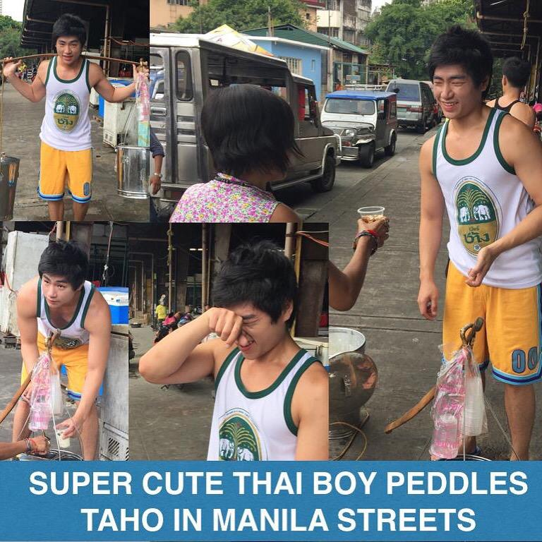 "TRENDING NOW! Super cute Thai boy peddles ""taho"" in Manila. Would you buy from him? Please RT. @celebiicelebii http://t.co/YHdVuUFmlu"