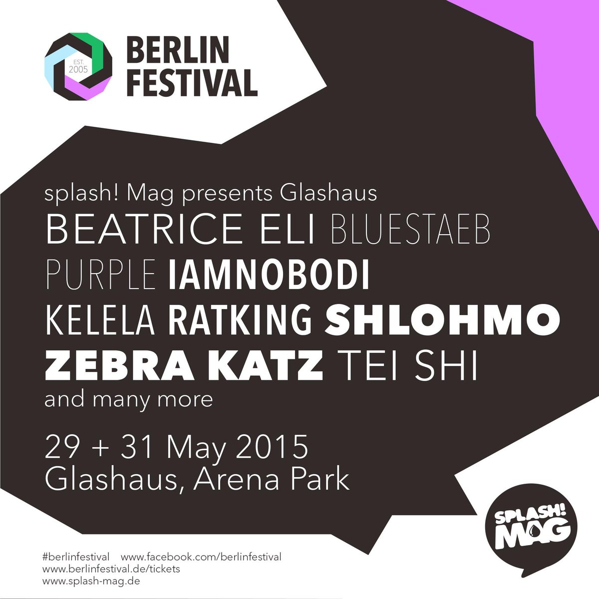 Stoked to have .@Splashmag​ at #berlinfestival again this year w/ @ZebraKatz​, @RatKing​, @BeatriceEli & many more! http://t.co/B2EIkZQFFq