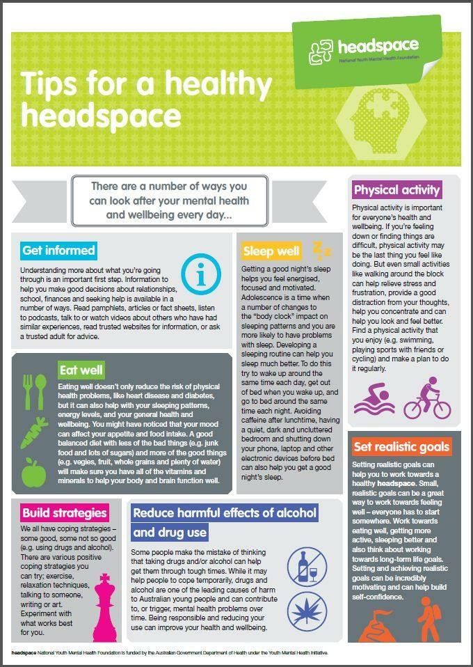 Tips for a healthy head space. #mentalhealth https://t.co/oe8BapMPjH