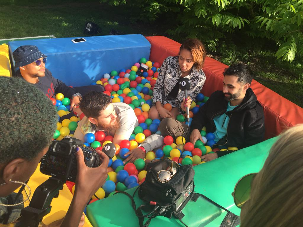 Rudimental in the ballpit backstage at Radio 1's #BigWeekend http://t.co/eNyQc4PeUL