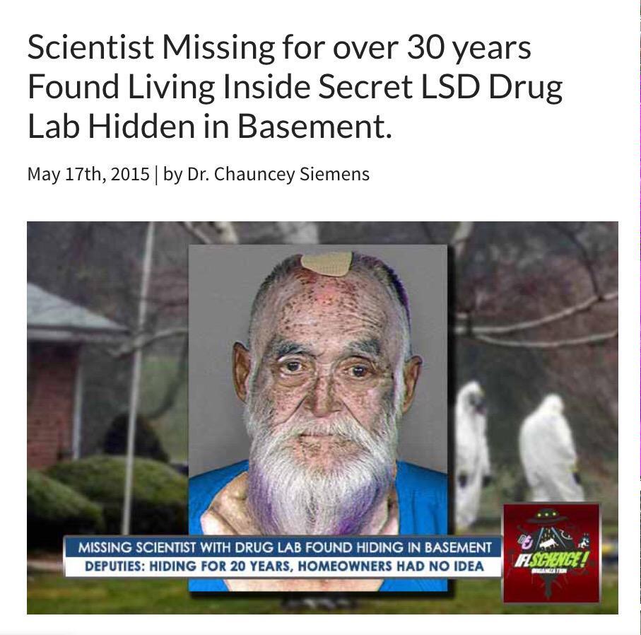 Пропавший 30 лет назад ученый-химик найден в секретной лсд-лаборатории.  Мужик 30 лет жрал лсд в одного http://t.co/tCdB2sUDNH
