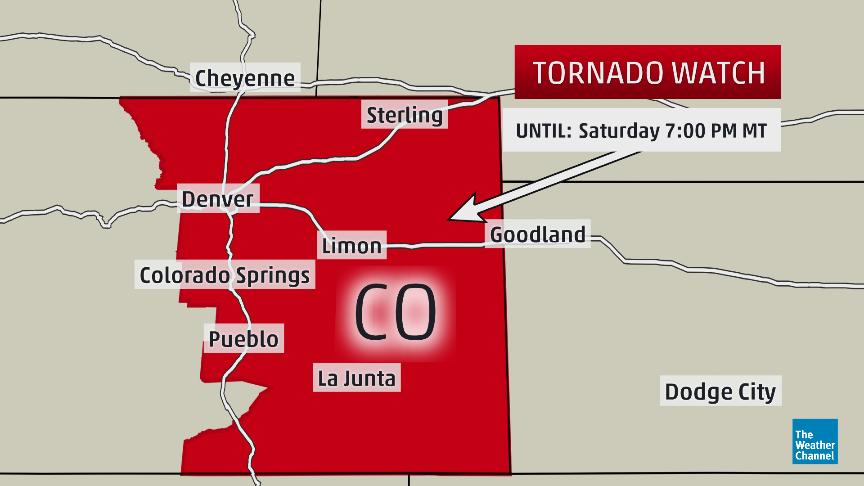 tornado watch eastern Colorado MDT includes Denver Colorado