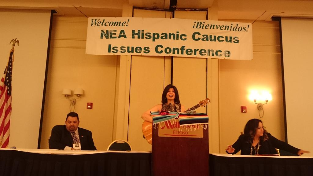 Listening to NEA President @Lily_NEA sing and talk to attendees at NEA Hispanic Issues Conference in El Paso, Tx. http://t.co/BOp0RtBBZT