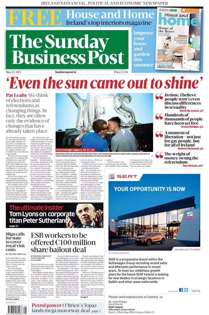 My favourite @sundaybusiness front page ever #marref #YesWeDid http://t.co/H5T23dzqmU