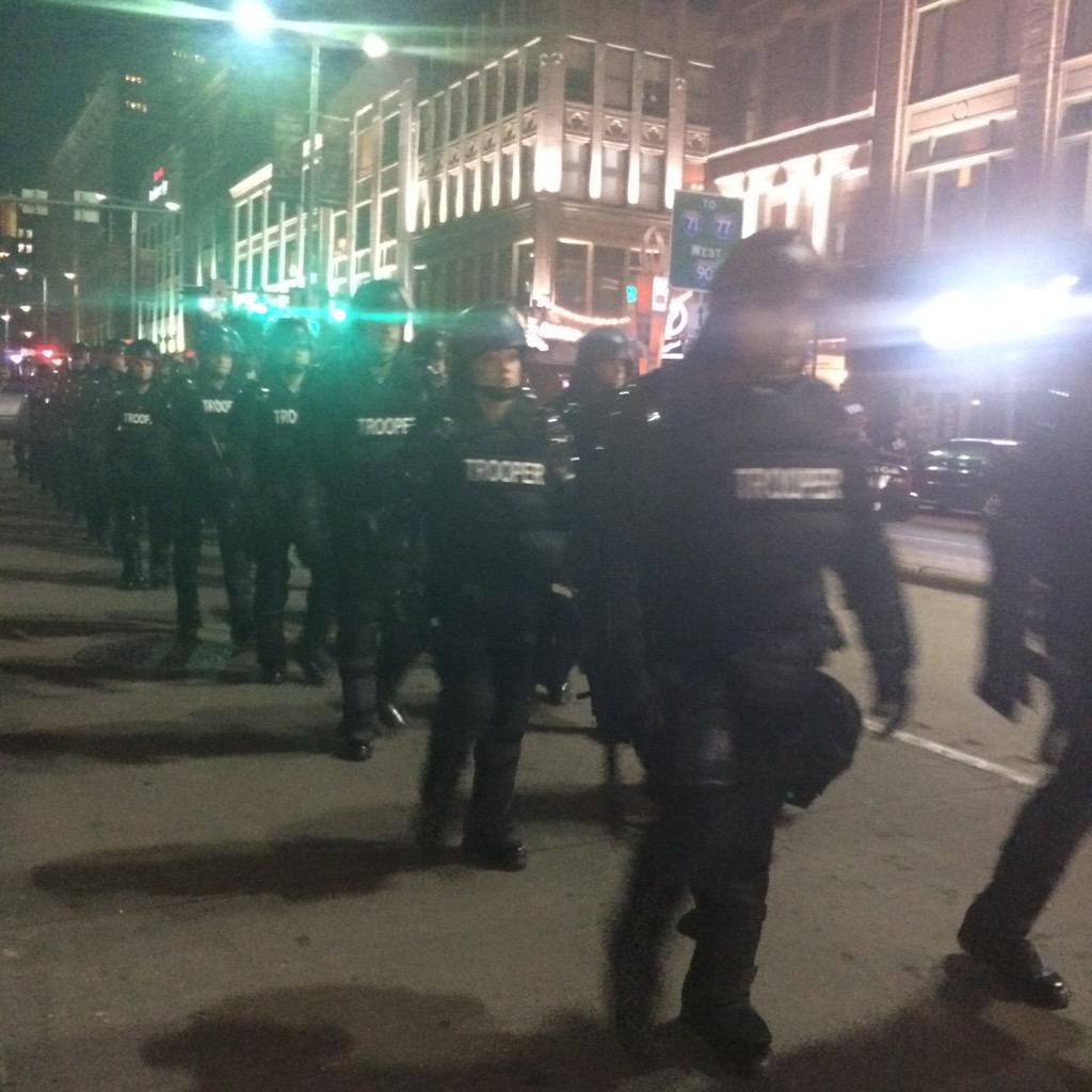 State Troopers in riot gear on scene now #Cleveland #BreloVerdict http://t.co/B3lyCuAwTl