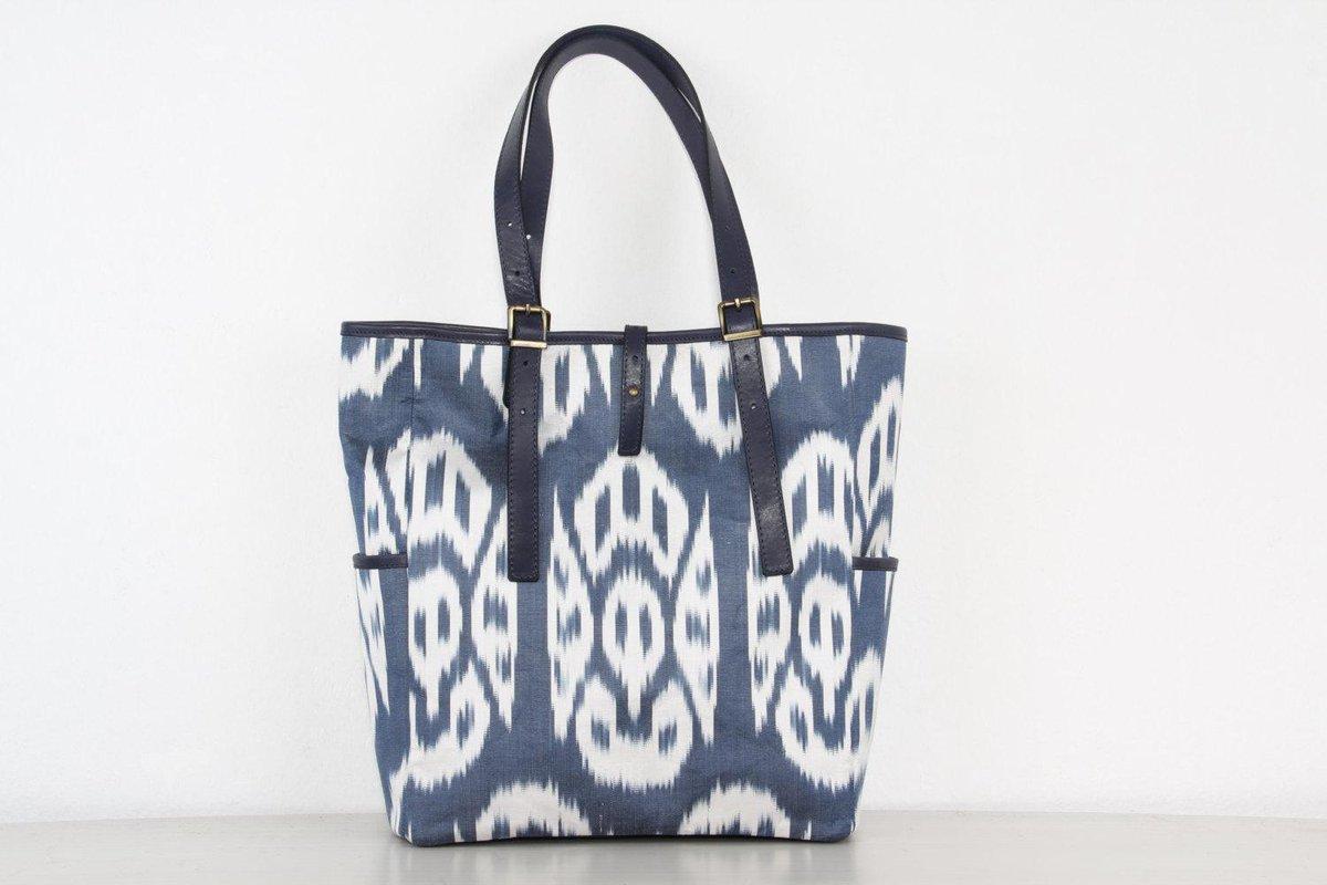 Ikat Tote Bag Blue Shoulder With Leather