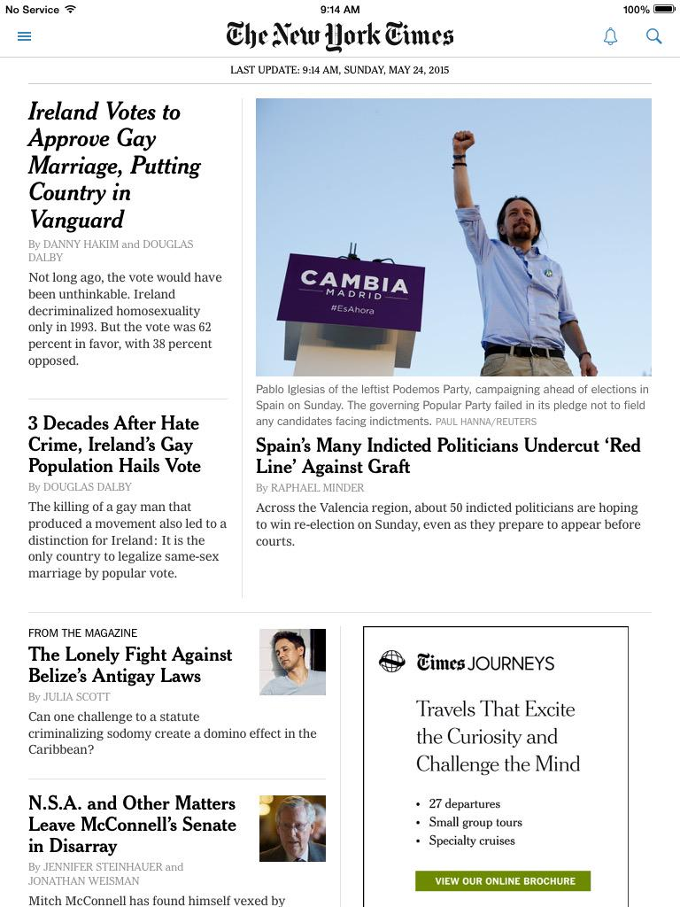 La portada del @nytimes ahora a todo trapo con Podemos y la corrupción en Valencia. #24M http://t.co/CTdjhqibxz