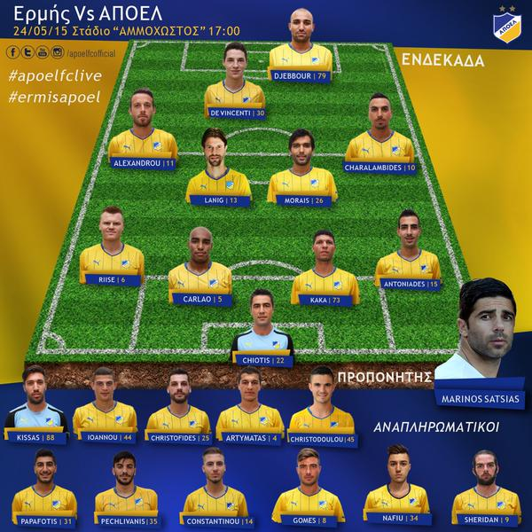 Nafiu (#34) was one of 11 players on the bench; photo: APOEL