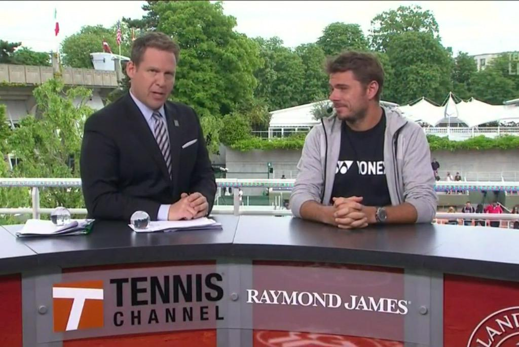Thanks to @stanwawrinka for joining us on the @TennisChannel desk & congrats on the R1 win. #BienJouee @rolandgarros http://t.co/KUKs1ERWDo
