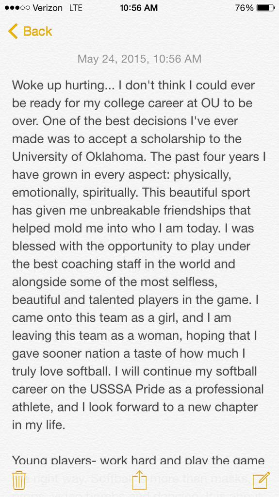 Best 4 years of my life... Thank you! Boomer Sooner! http://t.co/y1gsHlsGwl